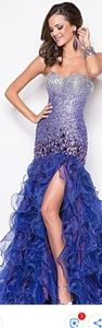 Blush Prom dress gown purple ombre sequin ruffle